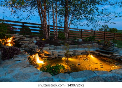 Decorative pond at night