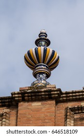 Decorative Pot on Top of the Walls of the Plaza de Espania is a Square located in the Park in Seville Built in 1928 for the Ibero-American Exposition of 1929; a landmark example of the Renaissance