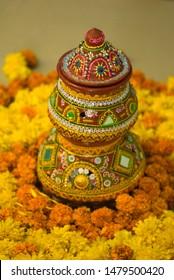 Decorative pots on Navaratri Festival, Mumbai, Maharashtra, India