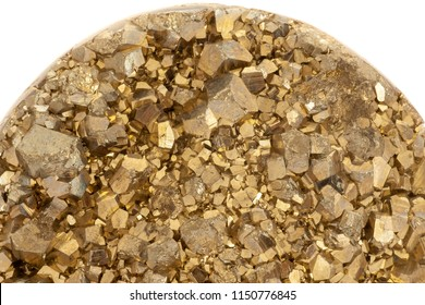 Decorative pyrite stone with small pyrite cubes isolated on white
