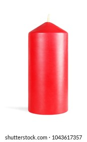 Decorative Red Candle on White Background