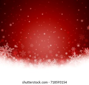 Decorative red Christmas background with bokeh lights, stars and snowflakes
