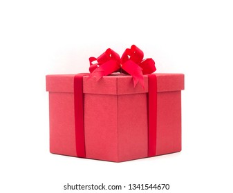 Decorative red gift box with ribbon on white background, Horizontal