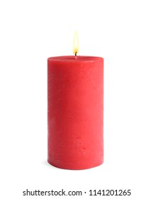 Decorative red wax candle on white background