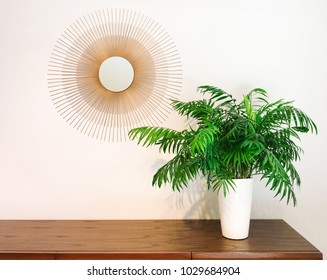 Decorative round mirror and parlor palm plant on a dresser. Modern home decor.