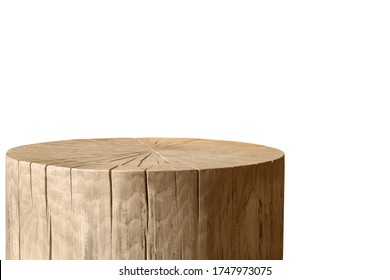 Decorative round wooden table on white background.