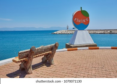 Decorative sign of the city of Finike on the waterfront, province of Antalya. Turkey