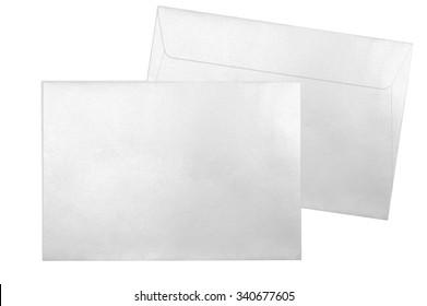 Decorative silver envelopes isolated on white background