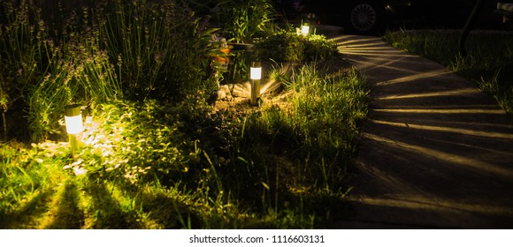 Decorative Small Solar Garden Light, Lanterns In Flower Bed. Garden Design. Solar Powered Lamp