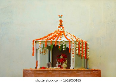 Decorative small temple at home in Hinduism for wedding ceremony