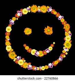 decorative smile symbol from color flowers
