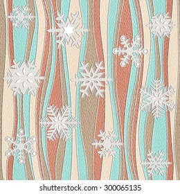 Decorative snowflakes - Christmas style - ripple pattern - Gift wrapping paper - decorative panels - Interior wall panel - Continuous replication - White Oak wood texture