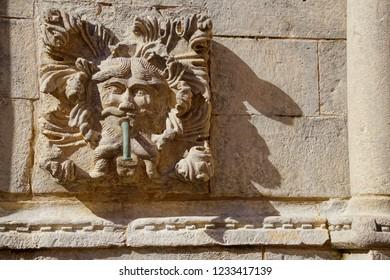 Decorative spout on town fountain in Dubrovnik, Croatia