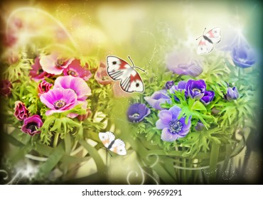 decorative spring background of flowers