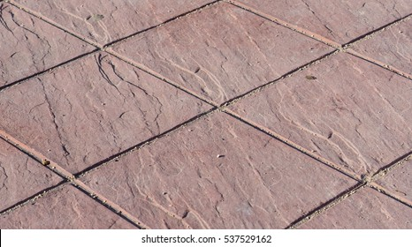 Decorative stamping cement, stamped concrete floor outdoor pavement red square pattern detail