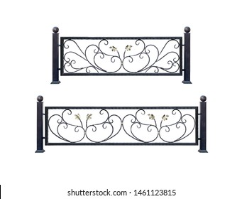 Decorative  steel  banisters, fences. Isolated over white background.