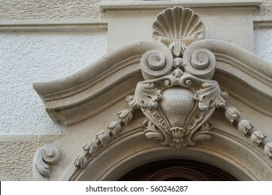 decorative stone carving above an entrance or gate