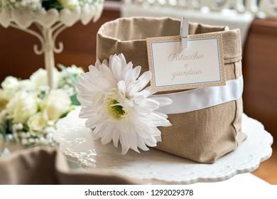 Decorative sugared almonds in a wedding party