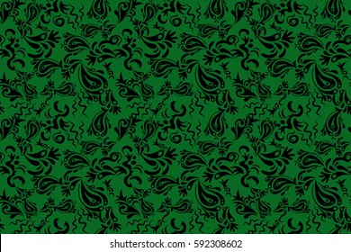 Decorative symmetry arabesque. Green and black seamless pattern good for greeting card for birthday, invitation or banner. Medieval floral royal pattern. Raster illustration.