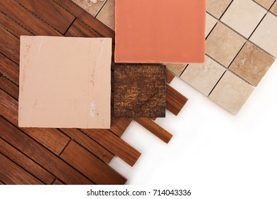 Decorative tiles from ceramics and wood