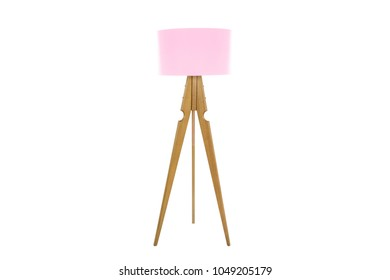 Decorative tripos standing light / FLOOR LAMP / LAMPSHADE isolated on white