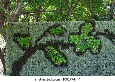 Decorative vertical landscaping in the park.