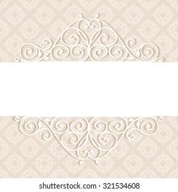 Decorative vintage frame. Swirl divider and header. Beautiful floral greeting card. Elegant invitation. Damask illustration.