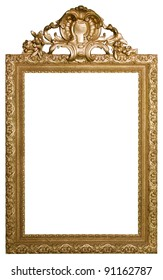 Decorative vintage gold frame isolated on white background