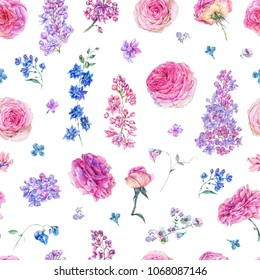 Decorative vintage watercolor seamless pattern with pink roses, lilacs, flowers, botanical floral illustration on white background