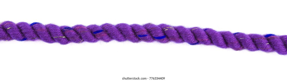 Decorative violet  braided curtain cord. Slice on white background