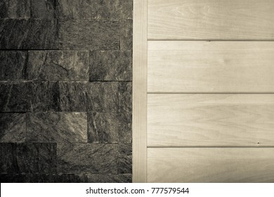 Decorative wall for background - half grey stone texture and half light wood texture. Toned.