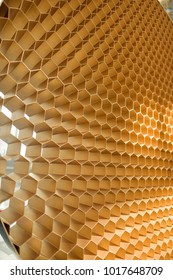 decorative wall of honeycombs