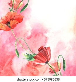Decorative watercolor background with poppies. Illustration for greeting cards, invitations, and other printing projects.
