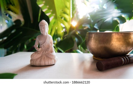Decorative white Buddha statuette with Tibetan singing bowl with a green monstera plant and bright sunlight background. Meditation, relaxation ritual. Exotic massage. Selective focus. Wide banner