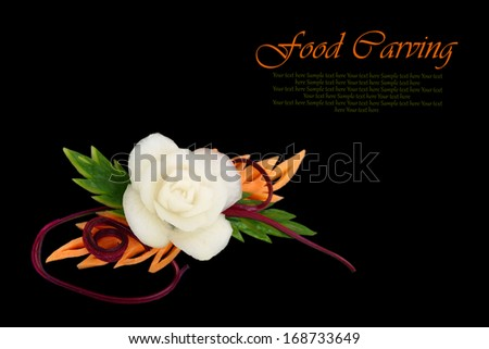 Decorative White Flower Carved Vegetable On Stock Photo Edit Now