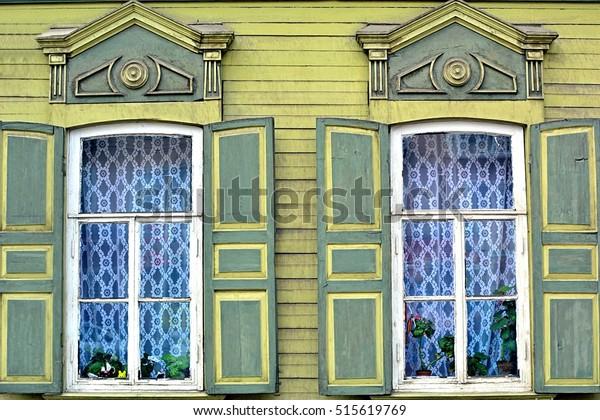 Shutterstock & Decorative Window Shutters Blinds Wooden House Stock Photo ...