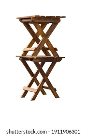 Decorative Wood folding chair.Isolated on white background.