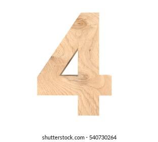 Decorative wooden alphabet digit four symbol - 4. 3d rendering illustration. Isolated on white background