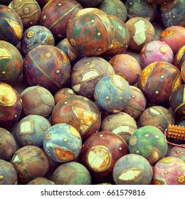 Decorative wooden balls. The traditional decoration for the Indian home