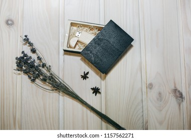 Decorative Wooden Box Presents Memory Sticks Stock Photo (Edit Now