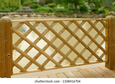 Decorative wooden garden fence