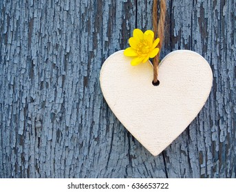 Decorative wooden heart with yellow spring flower on blue old wooden background.Spring decoration.Selective focus.