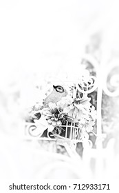 Decorative wrought iron in the garden. Black and white picture. This image was blurred or selective focus.
