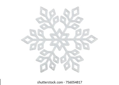 decorative xmas snowflake with glitter isolated on white, design element