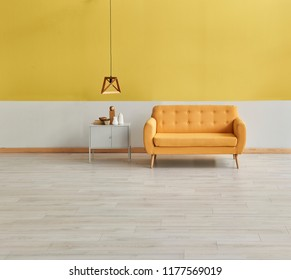 Decorative yellow and white living room concept with wooden lamp.
