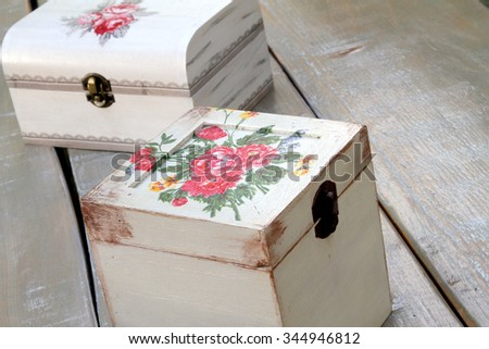 Decoupage Wooden Boxes Vintage Decoration Stock Photo Edit Now Impressive Decorating Wooden Boxes