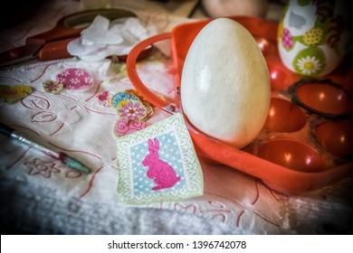 Decoupage work in progress on Easter eggs (decoupage work by myself)