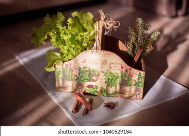 Decoupaged rustic box, greens and spices