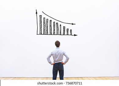 decrease of sales and profit, bankruptcy business  concept, financial crisis in company