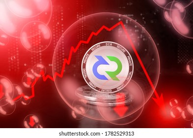 Decred DCR coin in a soap bubble. Risks and dangers of investing to Decred cryptocurrency. Collapse of the exchange rate. Unstable concept. Down drop crash bubble